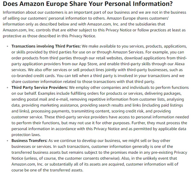 Amazon Europe Privacy Notice: Sharing your personal information clause excerpt
