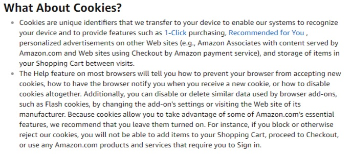 Amazon Privacy Notice: What About Cookies clause