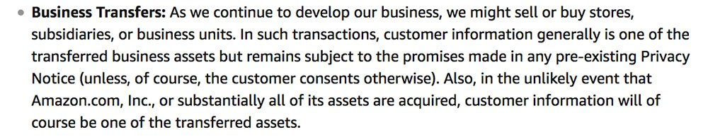 Amazon Privacy Policy page: Business Transfers clause