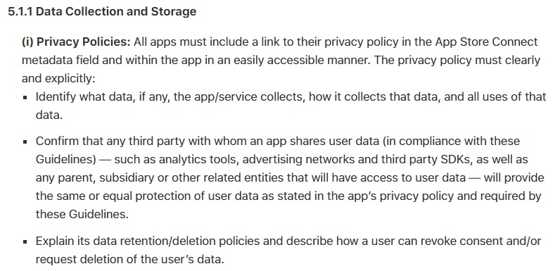 Apple App Store Review Guidelines: Data Collection and Storage: Privacy Policies clause