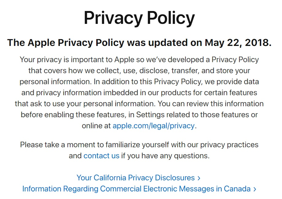 Apple Privacy Policy: Intro clause showing date, link to settings, link to contact and CalOPPA disclosure