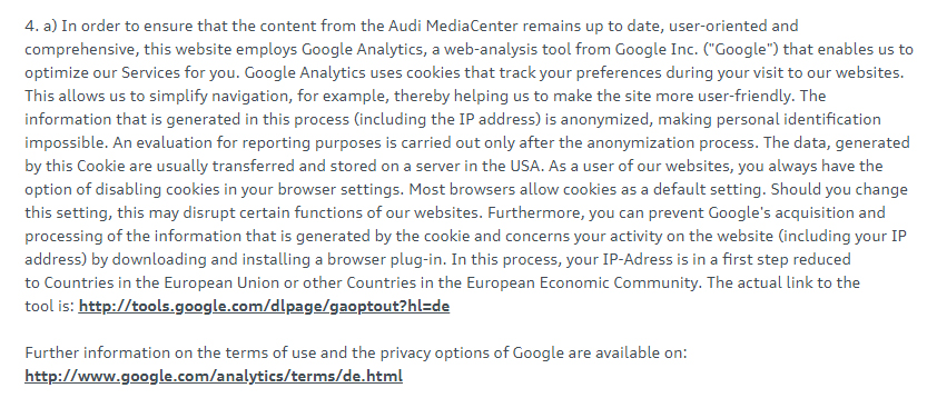 Audi MediaCenter Privacy Policy: Google Analytics clause
