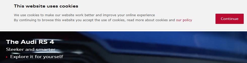 Audi UK Cookies notice banner on website