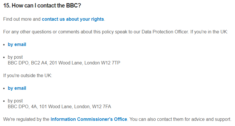 BBC Privacy Policy: How can I contact the BBC clause