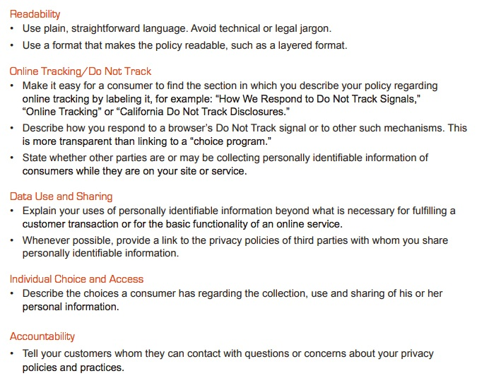 CalOPPA's overview of requirements for a Privacy Policy