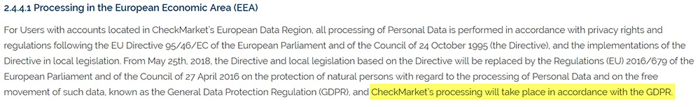 Checkmarket Privacy Policy: Processing in the European Economic Area clause