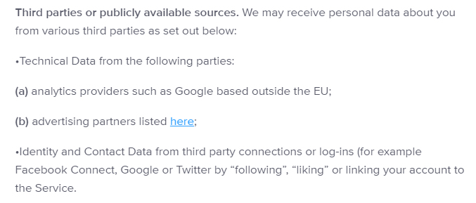 Disqus Privacy Policy: Third parties or publicly available sources clause
