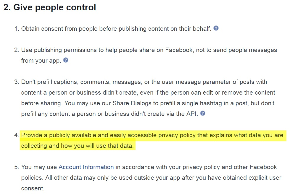 Facebook Terms for App Developers: Give People Control Clause