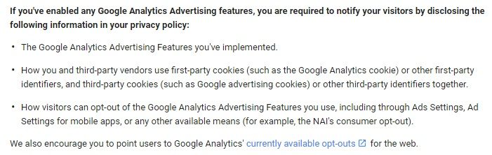 Google Analytics Terms of Service Disclosure Requirements clause