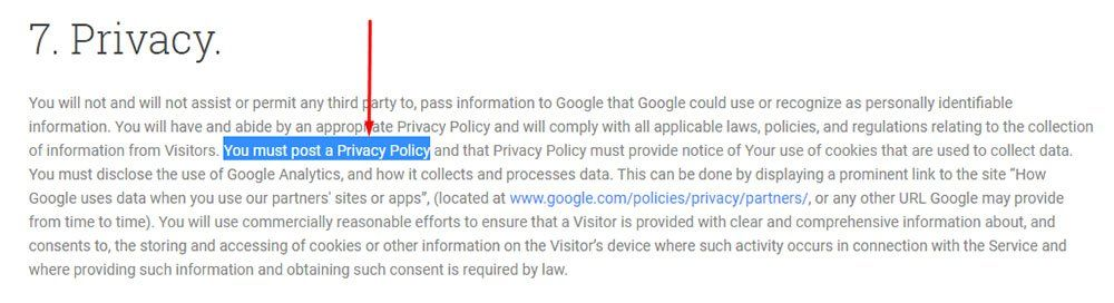 Google Analytics Terms of Service requires a Privacy Policy