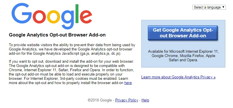 Google's Opt-out Browser Add-on tool
