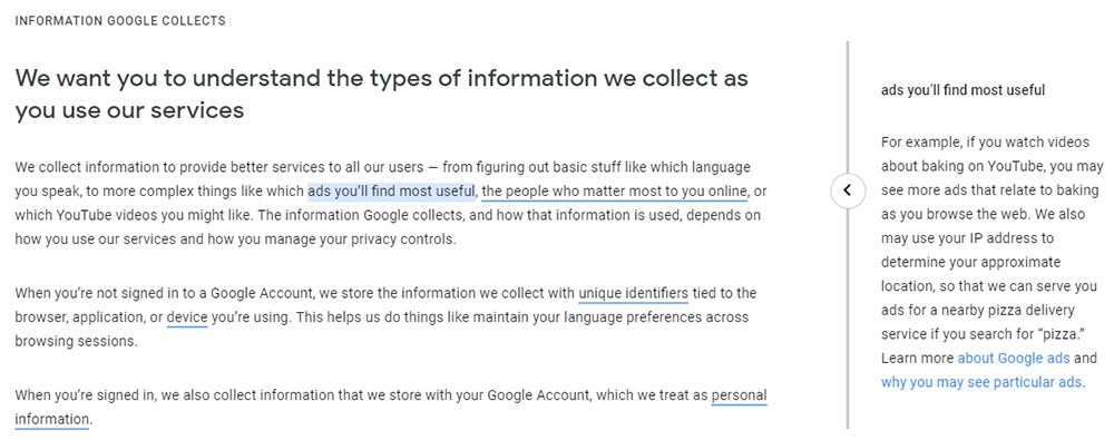 Google Privacy Policy: Information Google Collects clause with linked keywords to click for pop-up explanations