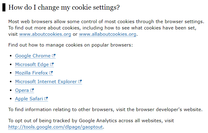 ICO UK Global Cookies Policy: How do I change my cookie settings clause