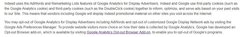 Indeed Privacy Policy: Google Analytics clause