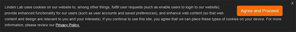 Linden Lab cookies notice with active consent: Agree and Proceed