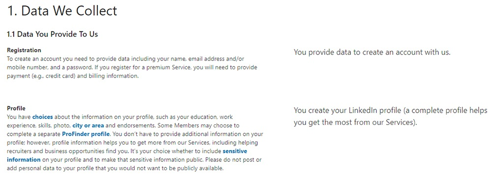 LinkedIn Privacy Policy: Data We Collect clause excerpt