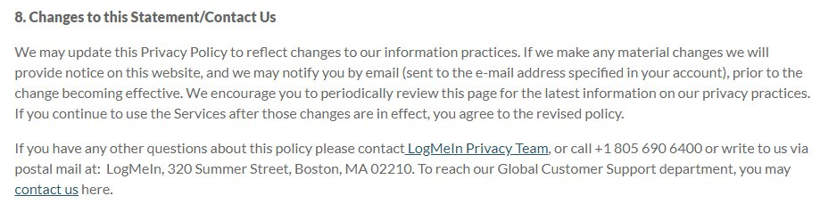 LogMeIn Privacy Policy page: Changes to this Statement - Contact Us clause