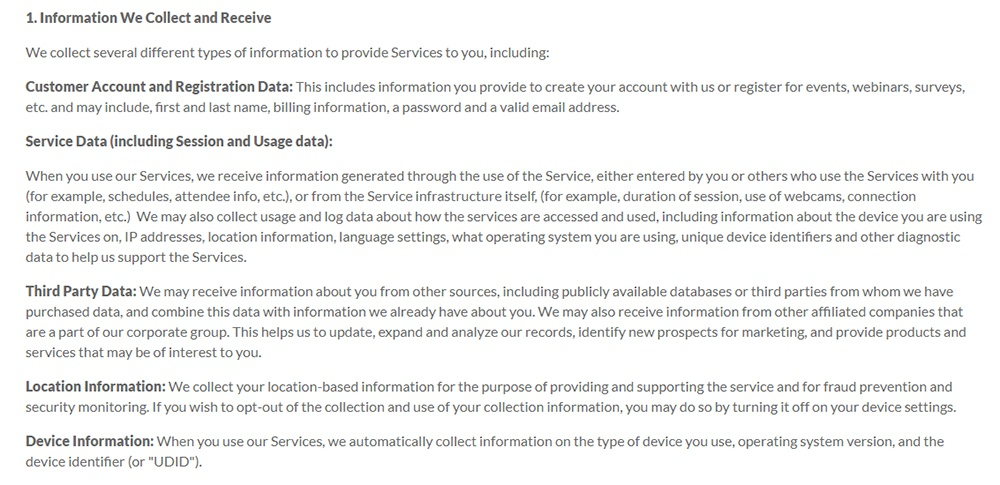 LogMeIn Privacy Policy page: Information We Collect and Receive clause