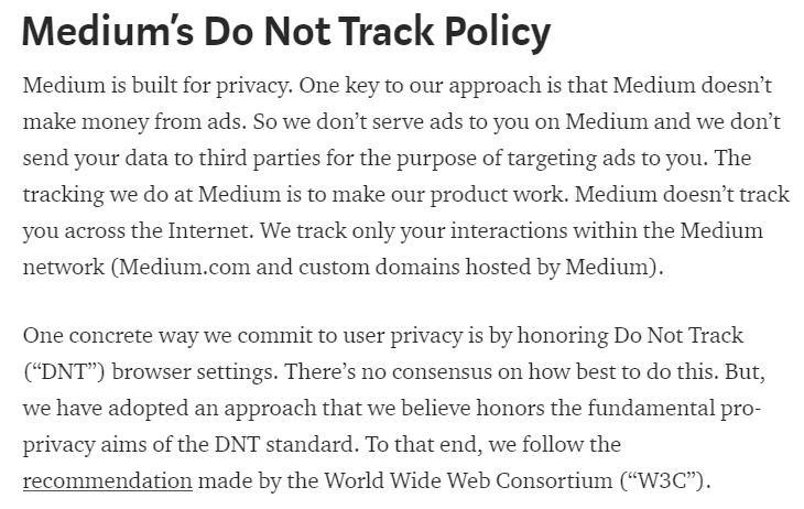 Medium's DNT Policy excerpt