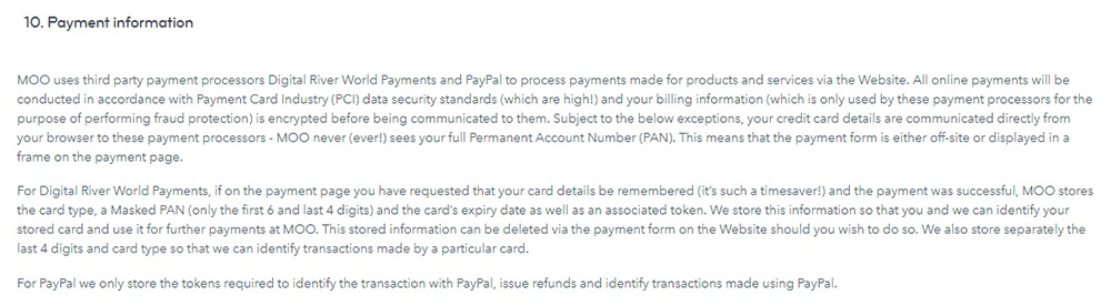 MOO Privacy Policy: Payment information clause