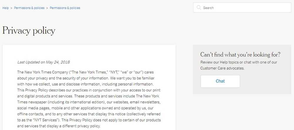 The New York Times: Screenshot of Privacy Policy intro - excerpt