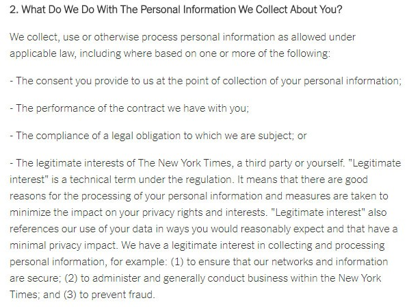 The New York Times Privacy Policy: What do we do with the personal information we collect about you clause