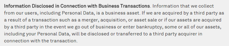 Niantic Privacy Policy: Information disclosed in connection with business transactions clause