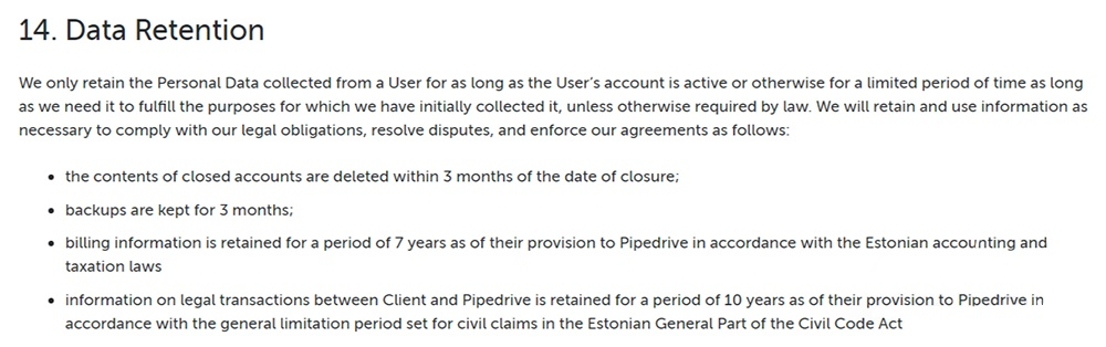 Pipedrive Privacy Policy: Data Retention clause - Updated