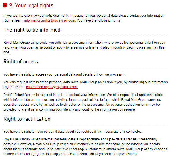 Royal Mail Privacy Notice: Your Legal Rights clause excerpt