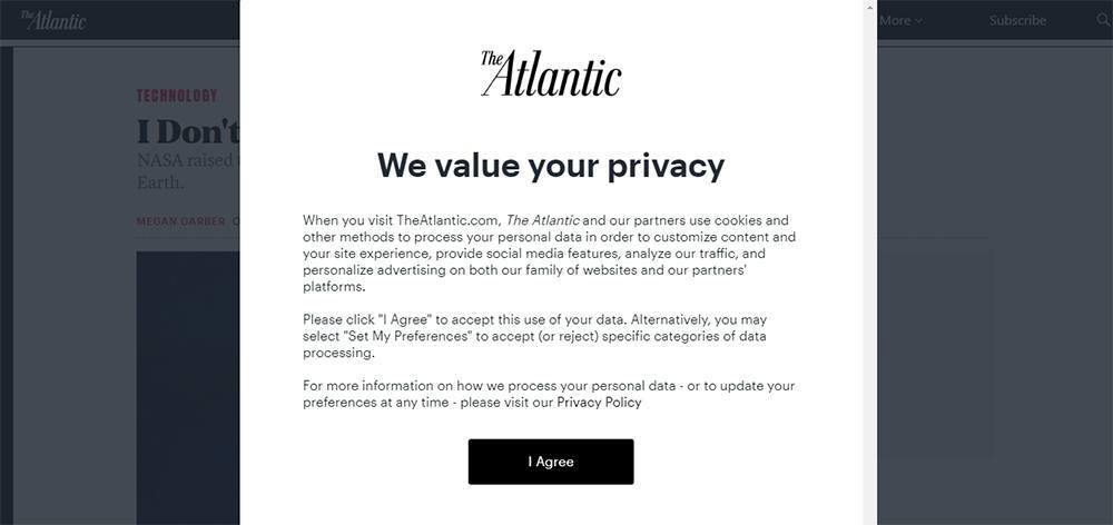 The Atlantic Cookies Notice