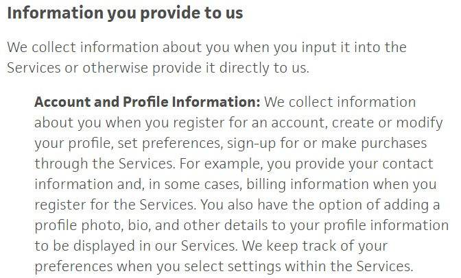 Trello Privacy Policy: Information you provide to us clause