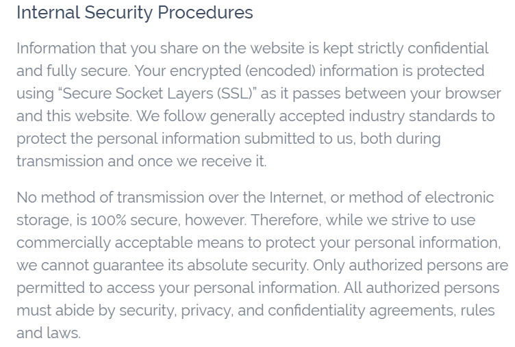 Vitality Privacy Policy: Internal Security Procedures Clause