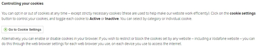 Vodafone Cookie Policy: Controlling your cookies clause