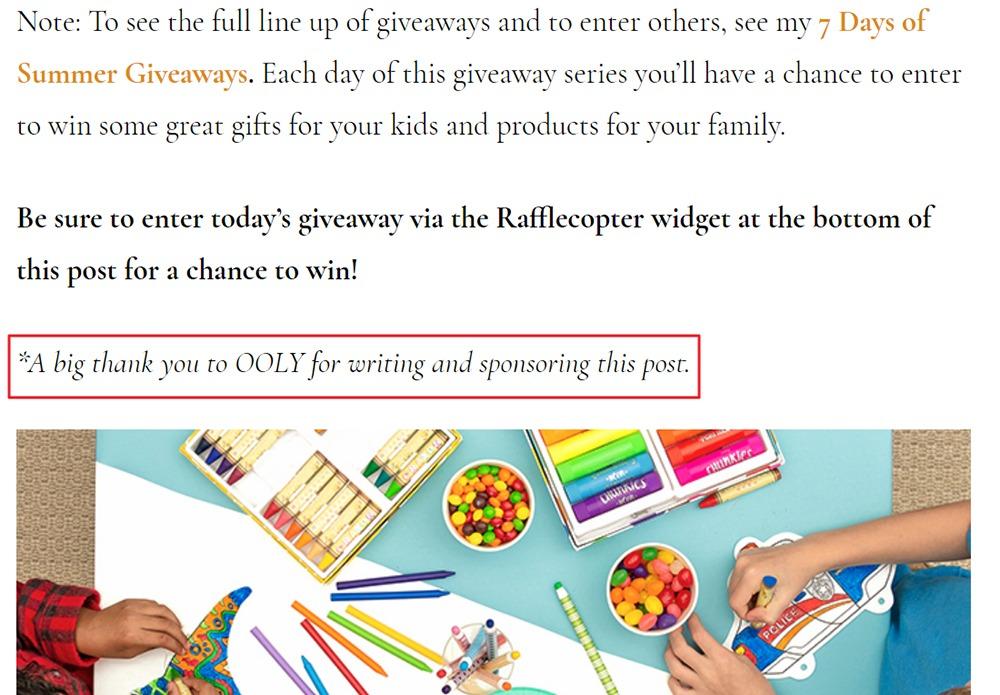 Artful Parent blog sponsored post disclosure