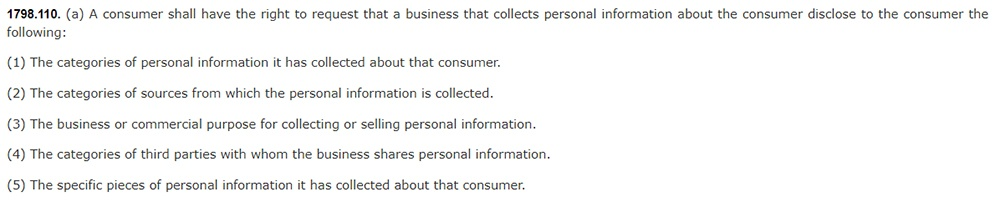California Legislative Information: California Consumer Privacy Act CCPA - Section 1798:110 - Right to request disclosure of personal information collected