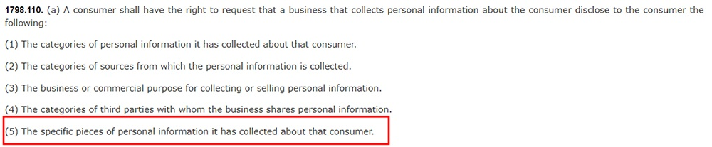 California Legislative Information: California Consumer Privacy Act CCPA - Section 1798:110 - Right to request disclosure of specific personal information collected - highlighted