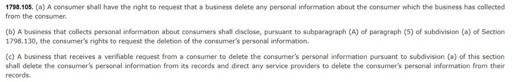 California Legislative Information: California Consumer Privacy Act CCPA - Section 1798:105 - Right to deletion
