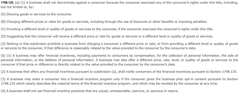 California Legislative Information: California Consumer Privacy Act CCPA - Section 1798:125 - No discrimination clause