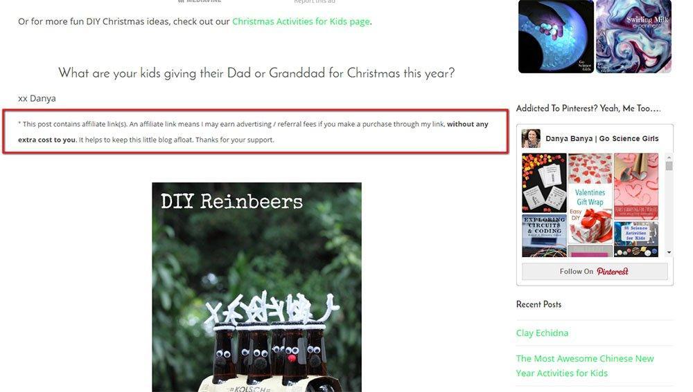Danya Banya blog with affiliate links disclosure
