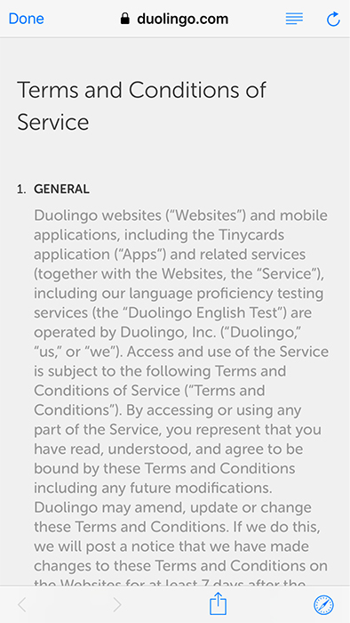 DuoLingo mobile Terms and Conditions: General clause excerpt