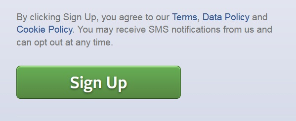 Screenshot of Facebook sign-up button and clickwrap