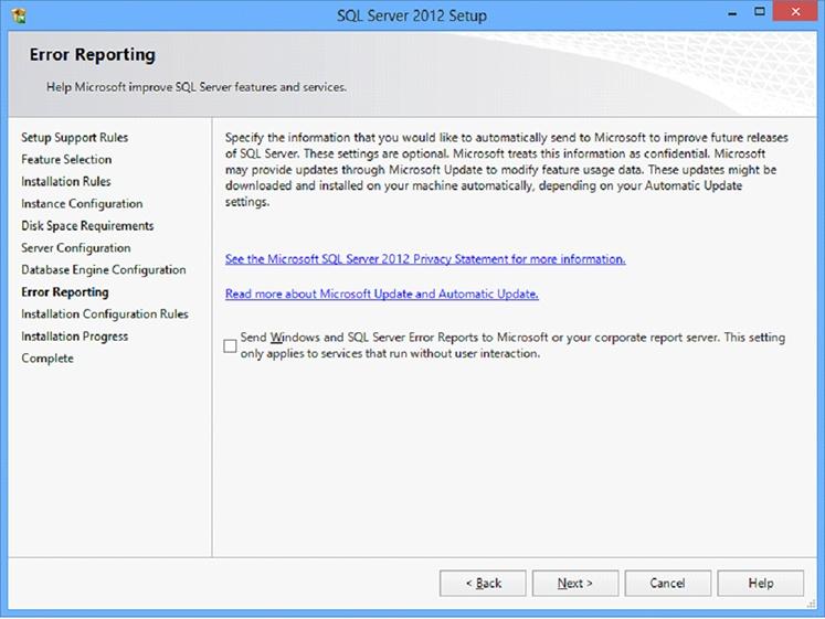 Microsoft SQL Server 2012 Setup screen