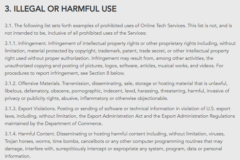 OnLINE TECH: Acceptable Use Policy: Illegal or harmful use clause