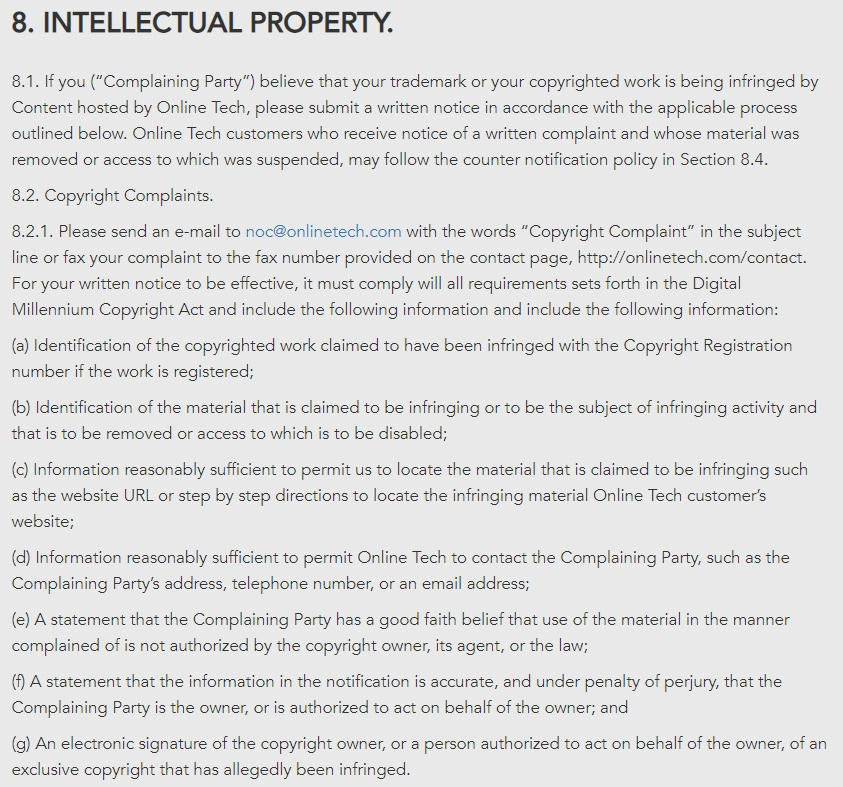 OnLINE TECH Acceptable Use Policy: Intellectual Property - Copyright Complaints clause
