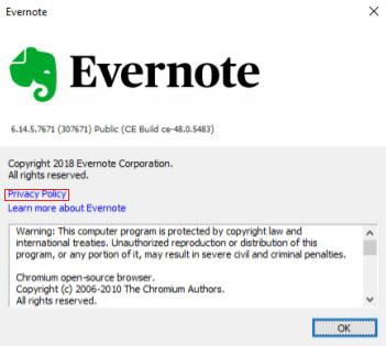 Evernote Windows Mobile App: Help/About menu with Privacy Policy link highlighted