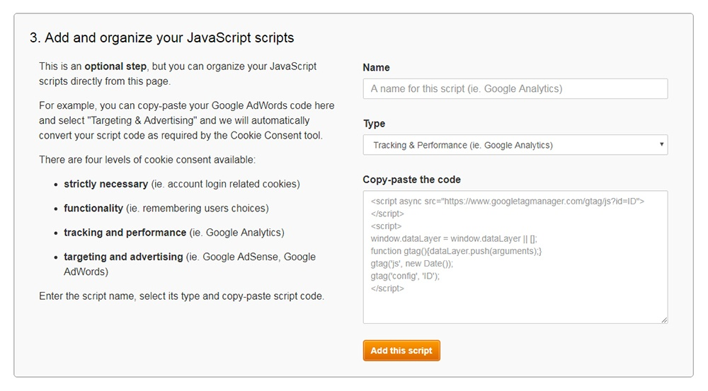 FreePrivacyPolicy: Cookies Consent - Add and organize your JavaScript scripts - Step 3