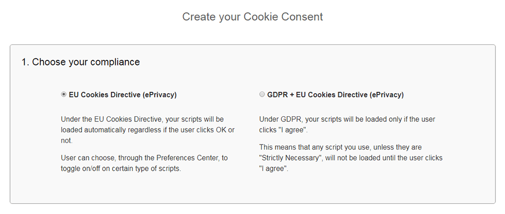 FreePrivacyPolicy: Cookies Consent - Choose your consent preference - Step 1