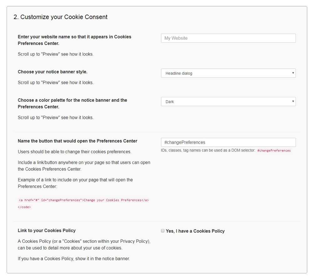 FreePrivacyPolicy: Cookies Consent - Customize your Cookie Consent widget - Step 2
