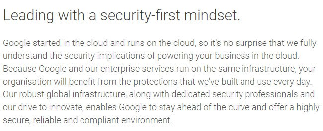 Google G Suite UK Security and Trust Policy Overview paragraph