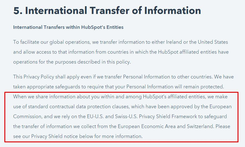 HubSpot Privacy Policy: International Transfer of Information: EU-US Privacy Shield clause